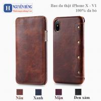 Bao da iPhone X-XS – V1 handmade 100% chất liệu da bò