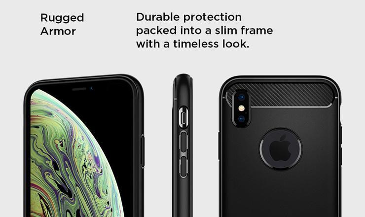 Ốp lưng iPhone Xs Max - Spigen Rugged Armor chính hãng